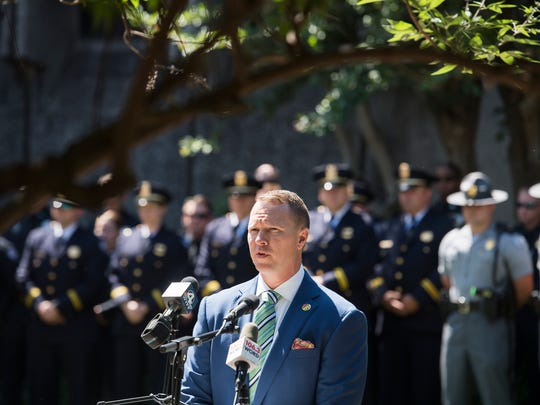 Greenville County Sheriff Will Lewis speaks during a memorial service for fallen officers on Tuesday, May 16, 2017.