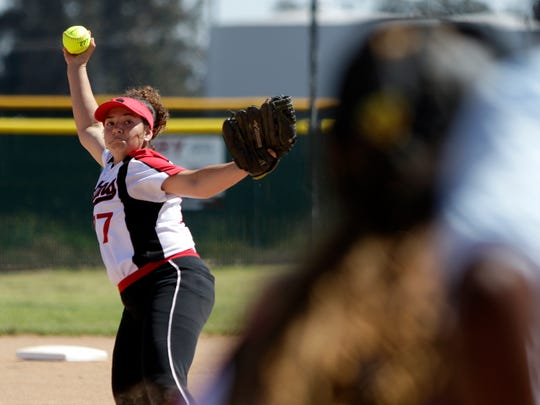 Rio Mesa pitcher Alicia Estrada, shown during a playoff win over Dana Hills as a freshman, continues to dominate as a junior.