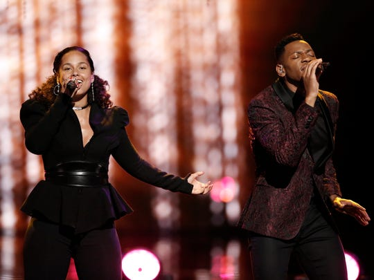 """Alicia Keys and Chris Blue perform together in """"The Voice"""" season 12 finale on Monday."""