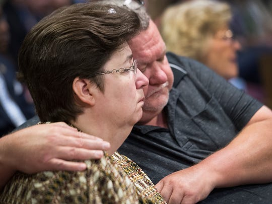 Joanne and Jaye Shiflet, mother and stepfather of Charles David Carver react as Todd Kohlhepp pleads guilty to 14 charges at the Spartanburg County Courthouse on Friday, May 26, 2017.