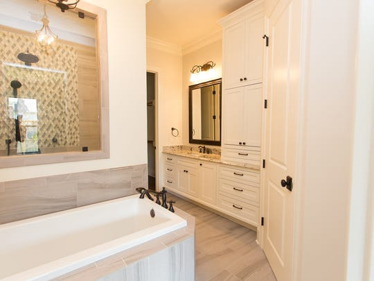 Large soaker tub in the master bath