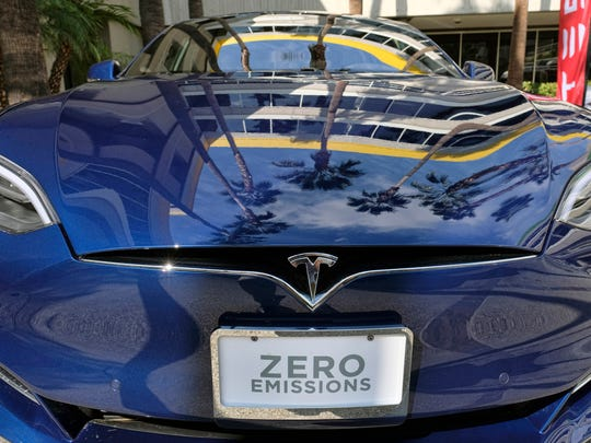 A Tesla Model S on display in downtown Los Angeles