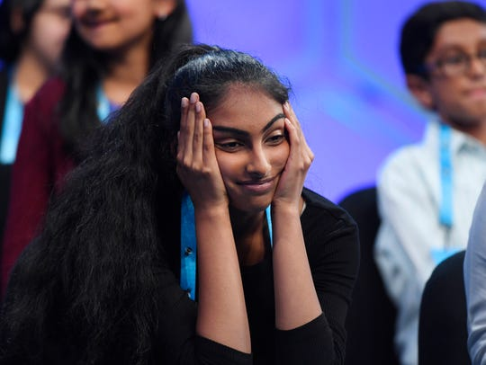 Shrinidhi Gopal, from California, listens  during the