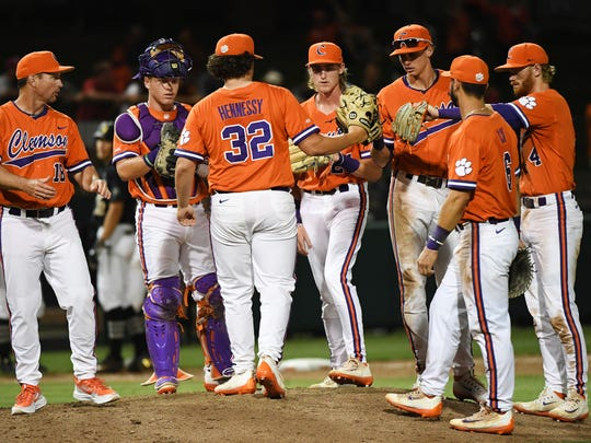 Clemson pitcher Jacob Hennessy (32) comes in to pitch against Vanderbilt during a NCAA regional baseball game at Doug Kingsmore Stadium on Saturday, June 3, 2017.