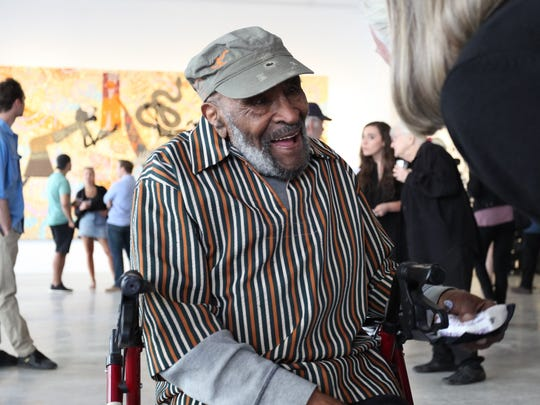 "The Charles McGee 70-year career ""Still Searching"" exhibit opened to hundreds at 1505 Woodward Ave. and coincided with the unveiling of his large-scale Capitol Park mural."