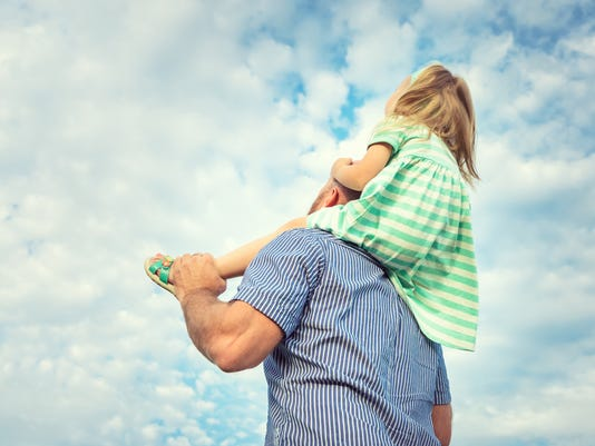 Adorable daughter and father portrait, happy family, future concept