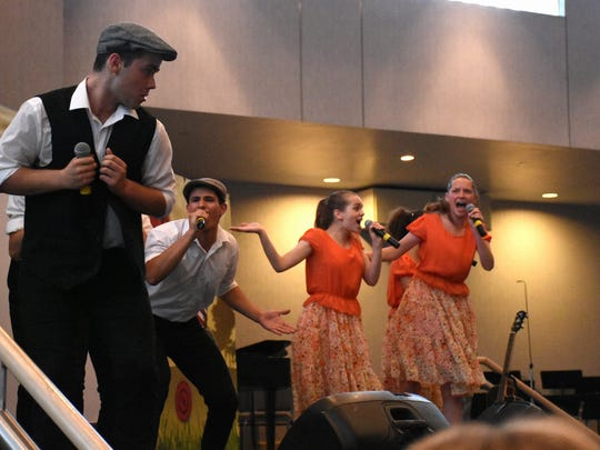 The performers do a number about families and sweethearts. The Israel Scouts Friendship Caravan, with 10 teenage performers and two leaders, gave five performances in two days at Naples venues during their barnstorming tour of the U.S.