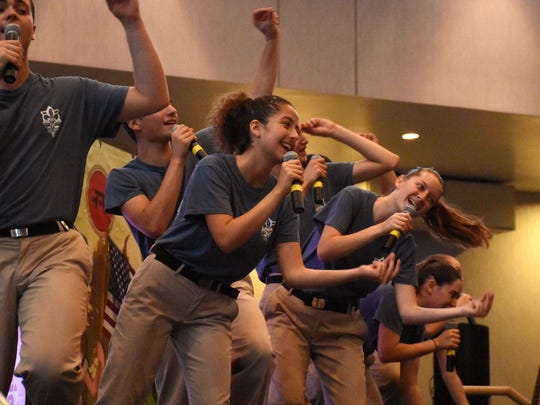 The Scouts perform one of their high-energy dance and song routines in Hebrew and English. The Israel Scouts Friendship Caravan, with 10 teenage performers and two leaders, gave five performances in two days at Naples venues during their barnstorming tour of the U.S.