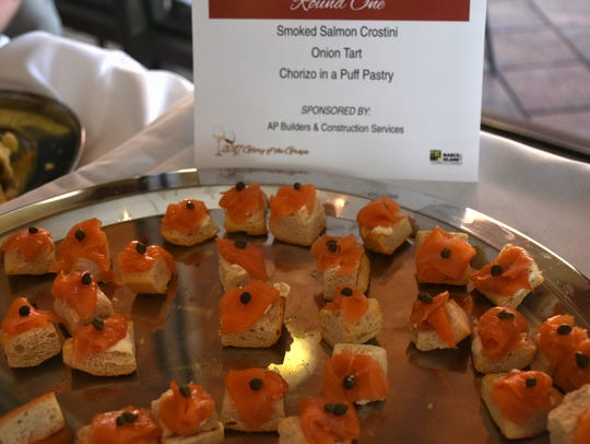 Smoked salmon crostini is one of the food items paired