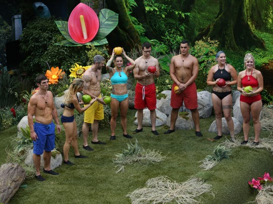 "L-R: Cody Nickson, Alex Ow, Matthew Clines, Christmas Abbott, Cameron Heard, Josh Martinez, Megan Lowder, Jillian Parker line up during the season 19 premiere episode of ""Big Brother."""