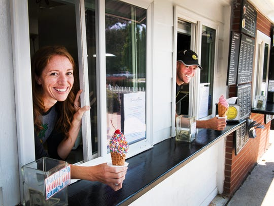 Kristy and Serge Guillot, owners of the Ice Cream Station in Simpsonville, on Monday, July 10, 2017.
