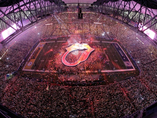 The Rolling Stones halftime performance during Super Bowl XL at Ford Field in Detroit on Sunday, February 5, 2006.