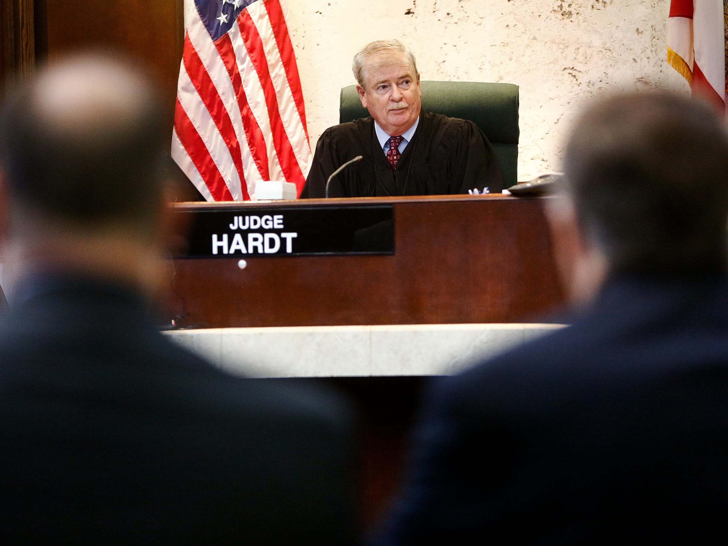 Judge Fred Hardt listens to members of the defense during a case management hearing for Mesac Damas at the Collier County Court House on Friday, Aug. 28, 2015.