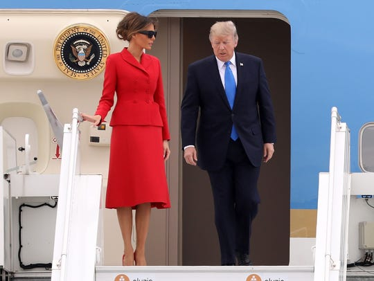 President Trump and first lady Melania Arrive At Orly