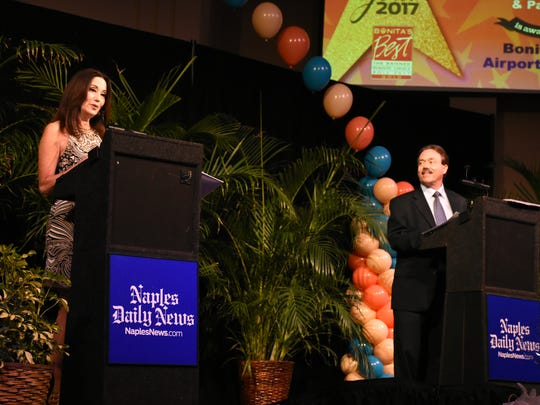 Amy Oshier and Tim Aten of the Naples Daily News announce the winners. Winners of the 19th annual Best of Bonita awards were celebrated Thursday evening in a gala presentation at the Center for the Performing Arts in Bonita Springs.