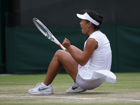 Claire Liu of Thousand Oaks celebrates after beating fellow American Ann Li in the girls junior final at Wimbledon in July.