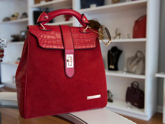 A handbag is on display at Kane Collections in Mauldin