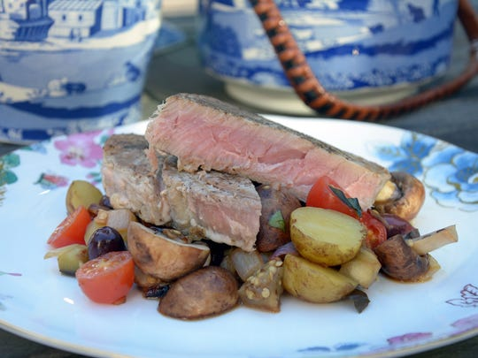 Grilled Ahi Steak Provençal with Eggplant and Mushrooms