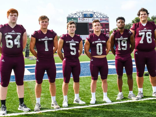 St. Thomas More's offensive lineup includes (from left) Jonathan Harding, Mason Pesson, William Cryer, Chris Primeaux, Sydney Lindon and Grant Young.
