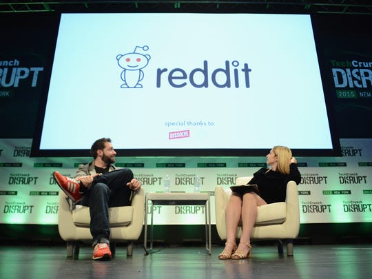 NEW YORK, NY - MAY 06:  Co-Founder and Executive Chair of Reddit, and Partner at Y Combinator, Alexis Ohanian (L) and co-editor at TechCrunch, Alexia Tsotsis appear onstage during TechCrunch Disrupt NY 2015.