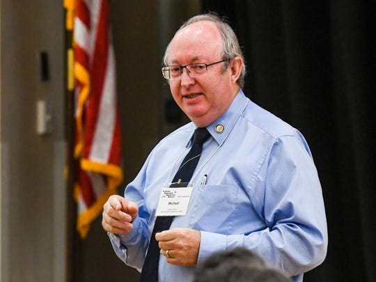 Micheal Grissom, vice chancellor of strategic initiatives at South Louisiana Community College, speaks at the 2017 conference of the Louisiana Association for Institutional Research Tuesday, Aug. 1, 2017.