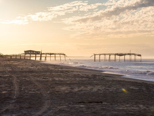 The beach sits empty this week on Hatteras Island as