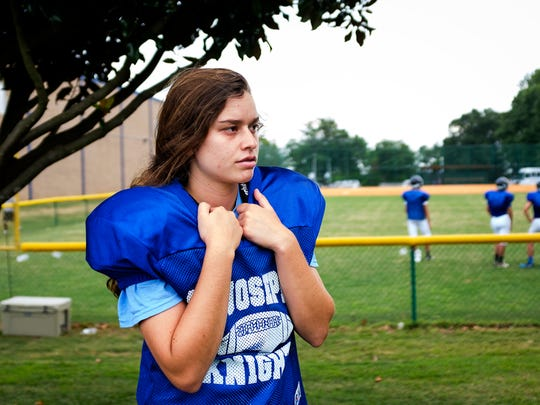 St. Joseph's Jane Cajka watches her teammates on the field during practice on Friday, Aug. 4, 2017 at St. Joseph's Catholic School.