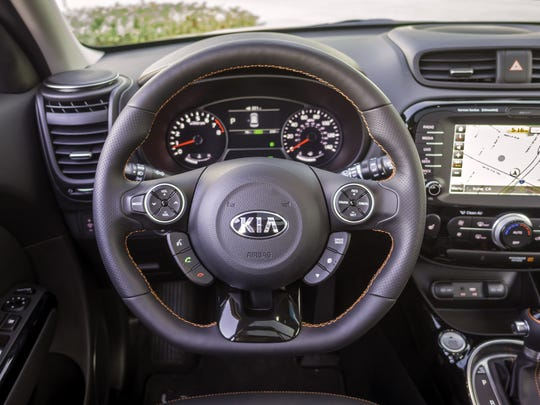 """The 2017 Kia Soul Turbo version can be had with a panoramic sunroof for an extra $1,000 and a """"technology package"""" that includes an improved navigation system, power mirrors, blind spot detection and a Harman Kardon audio system."""