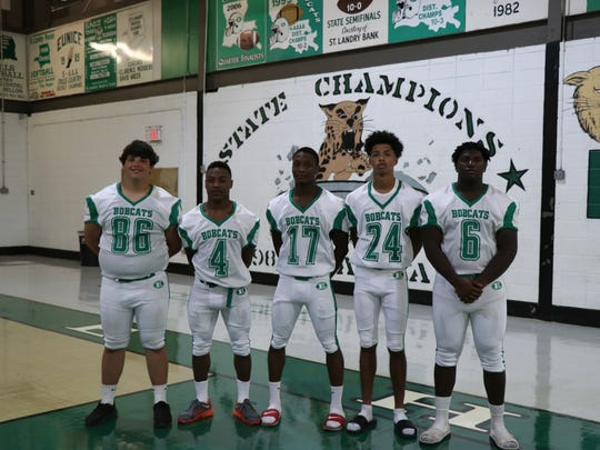 Eunice defensive standouts Brody Gaspard (86), Trevin Ceasar (4), Dameon Frank (17), Jordan Ledet (24) and Leon Mitchell (6).