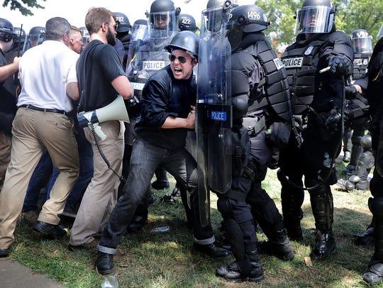 CHARLOTTESVILLE, VA - AUGUST 12:  White nationalists,
