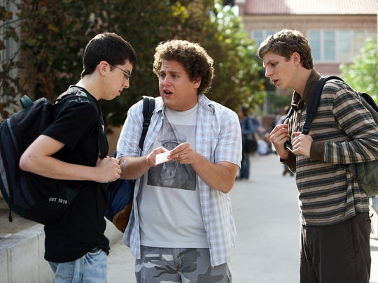 Christopher Mintz-Plasse, left, Jonah Hill and Michael Cera star in 'Superbad,' a 2007 comedy film available for free on Vudu.