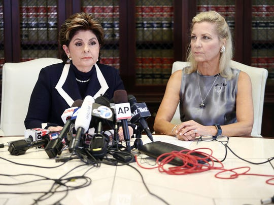 Gloria Allred (L) and her client Robin M at Aug. 15,