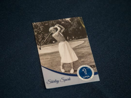 A photo of Shirley Spork, one of the original 13 founders of the LPGA, during her playing days on Sunday, August 20, 2017, during the 2017 Solheim Cup in Des Moines.