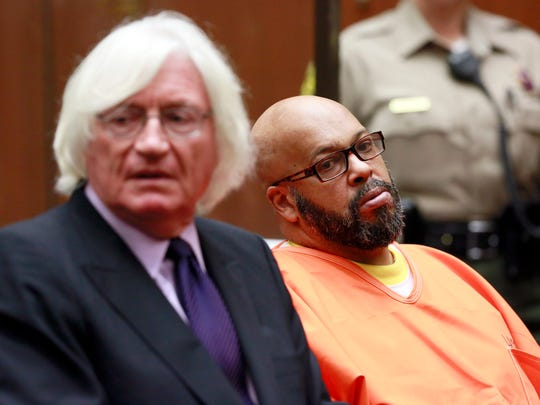 "Thomas Mesereau and Marion ""Suge"" Knight, in court in Los Angeles July 17, 2015."