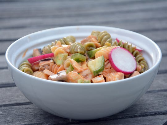 Chicken pasta salad with radishes was a childhood favorite.