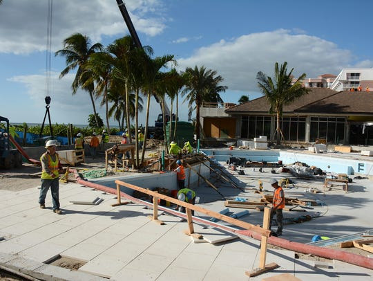 The entire pool area is being revamped. The Marco Island