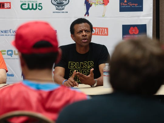 Phil LaMarr speaks on a panel at Comic con Palm Springs,