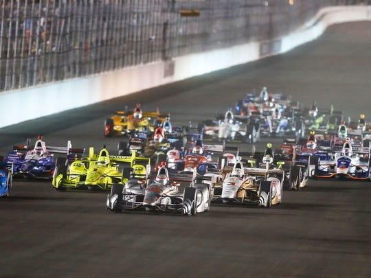 Drivers take the green flag start of the IndyCar auto race Saturday, Aug. 26, 2017, at Gateway Motorsports Park in Madison, Ill. (AP Photo/Scott Kane)