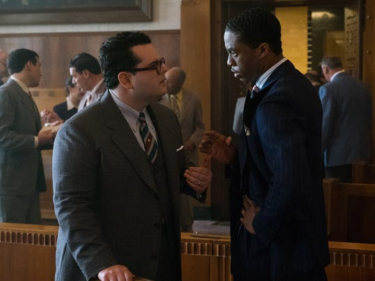 Sam Friedman (Josh Gad, left) and Thurgood Marshall (Chadwick Boseman) team up in court  in 'Marshall' (Oct. 13).