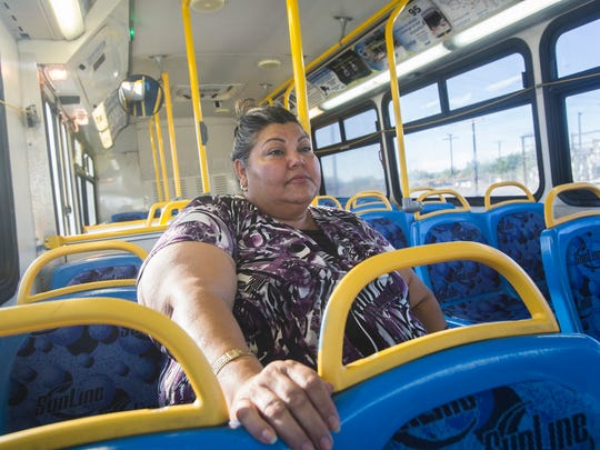 Blanca Barraza uses the 95 Sunline route in North Shore. Using public transportation in the eastern Coachella Valley is a time-consuming experience according to Barraza.
