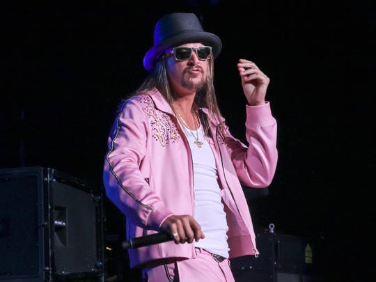 Kid Rock performs during the last of his 10 sold-out shows at DTE Energy Music Theatre on Aug. 22, 2015, in Clarkston.