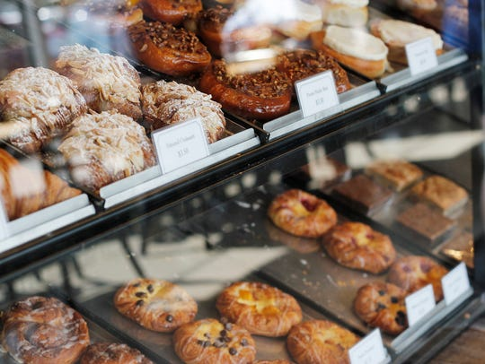 The pastry case at Scenic Route Bakery in Des Moines