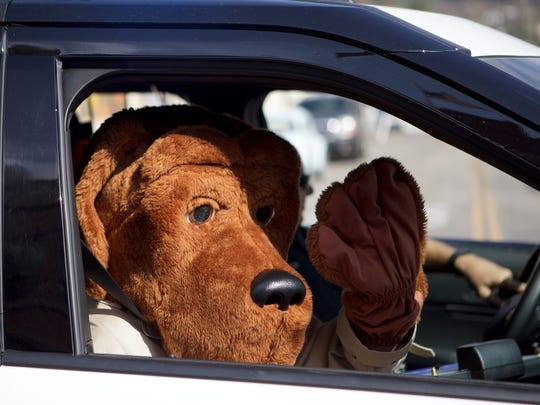"""McGruff the Crime Dog"" waves to the crowd during the Labor Day Parade in downtown Santa Paula."