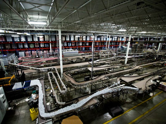 The production line still snakes through the factory in 2012 as pictured in this overhead view of the Gehl Foods distribution center in Germantown, Aug. 31, 2012.