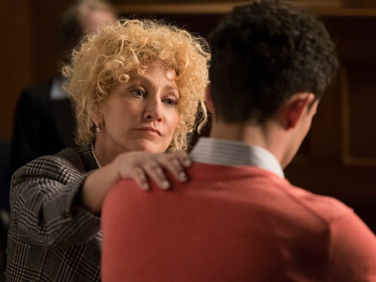 "This image released by NBC shows Edie Falco as Leslie Abramson in a scene from ""Law & Order True Crime: The Menendez Murders,"" premiering Sept. 26 on NBC. (Justin Lubin/NBC via AP)"