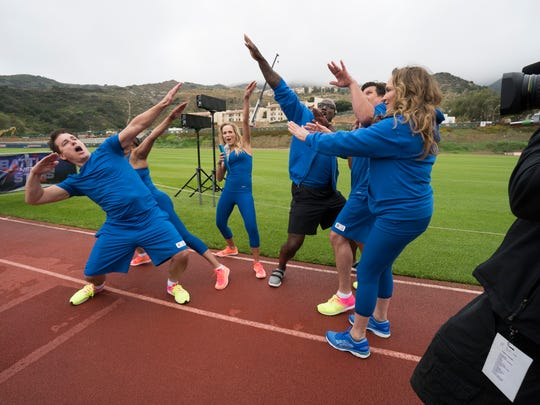 """John Barrowman on far left with his Troublemakers team on """"Battle of the Network Stars,"""" based on the '70s and '80s television pop-culture classic, during the season finale on September 7 on ABC."""