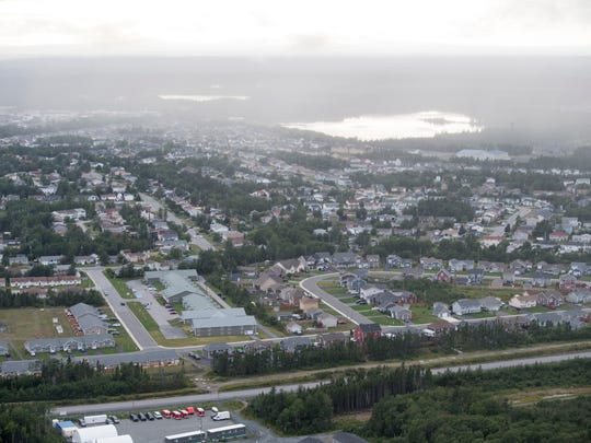 An aerial view of the town of Gander.