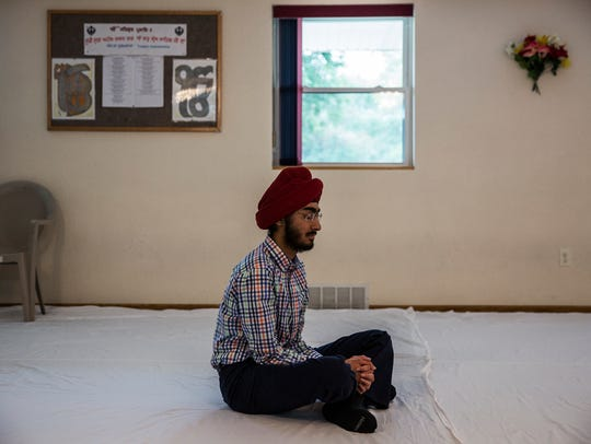 JJ Singh Kapur, a senior at Valley High School, meditates