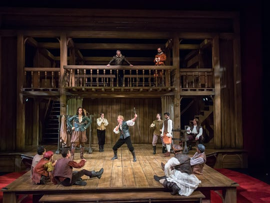 """The cast of the Playhouse in the Park's production of """"Shakespeare in Love"""" on set designer Timothy R. Mackabee's reinvisioned Elizabethan stage. The show runs through Sept. 30 in the Playhouse's Marx Theatre."""