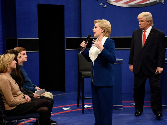 """Kate McKinnon as Democratic presidential candidate Hillary Clinton and Alec Baldwin as Republican presidential candidate Donald Trump during the """"Saturday Night Live"""" opening sketch on Oct. 15, 2016."""